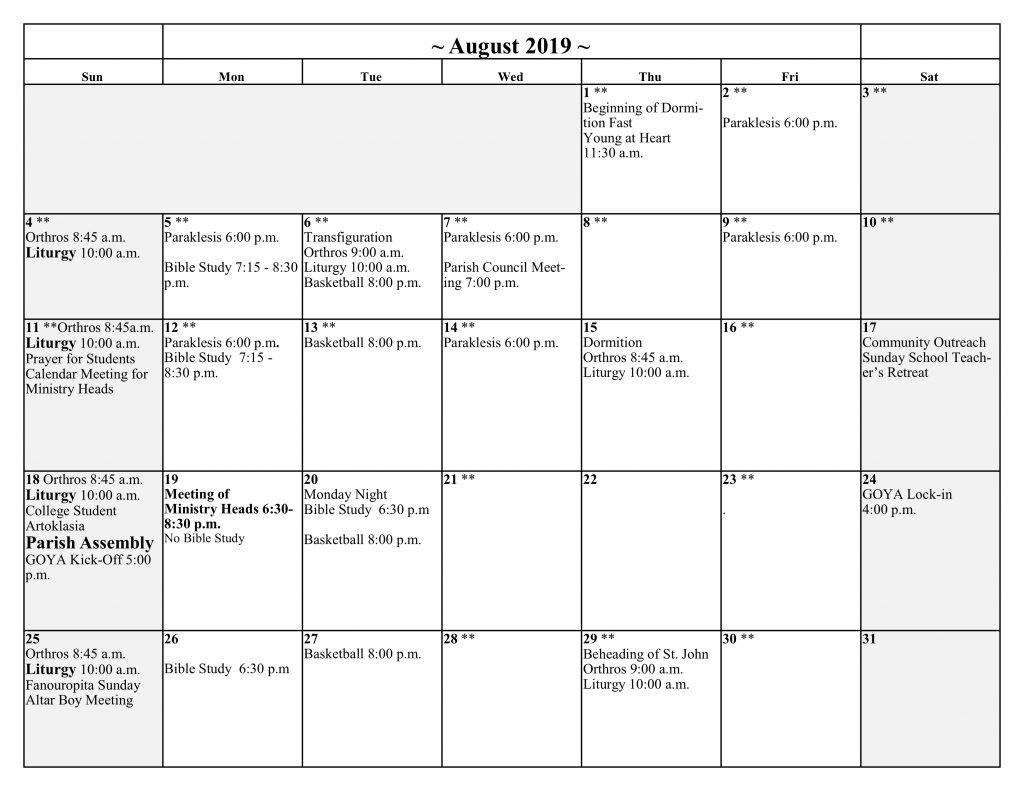 Greek Orthodox Calendar.Calendar Saint John The Baptist Greek Orthodox Church